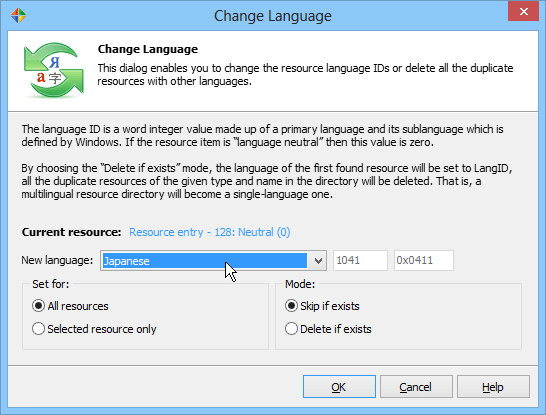 Select the new language