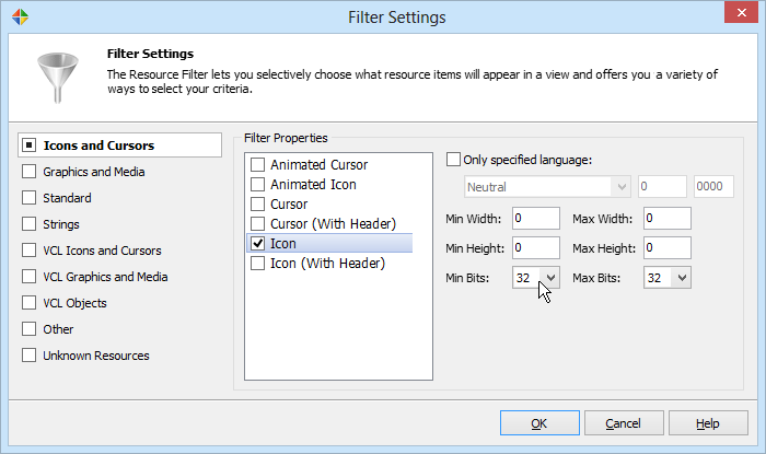 Resource Filter settings