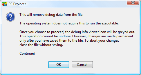 Remove debug information
